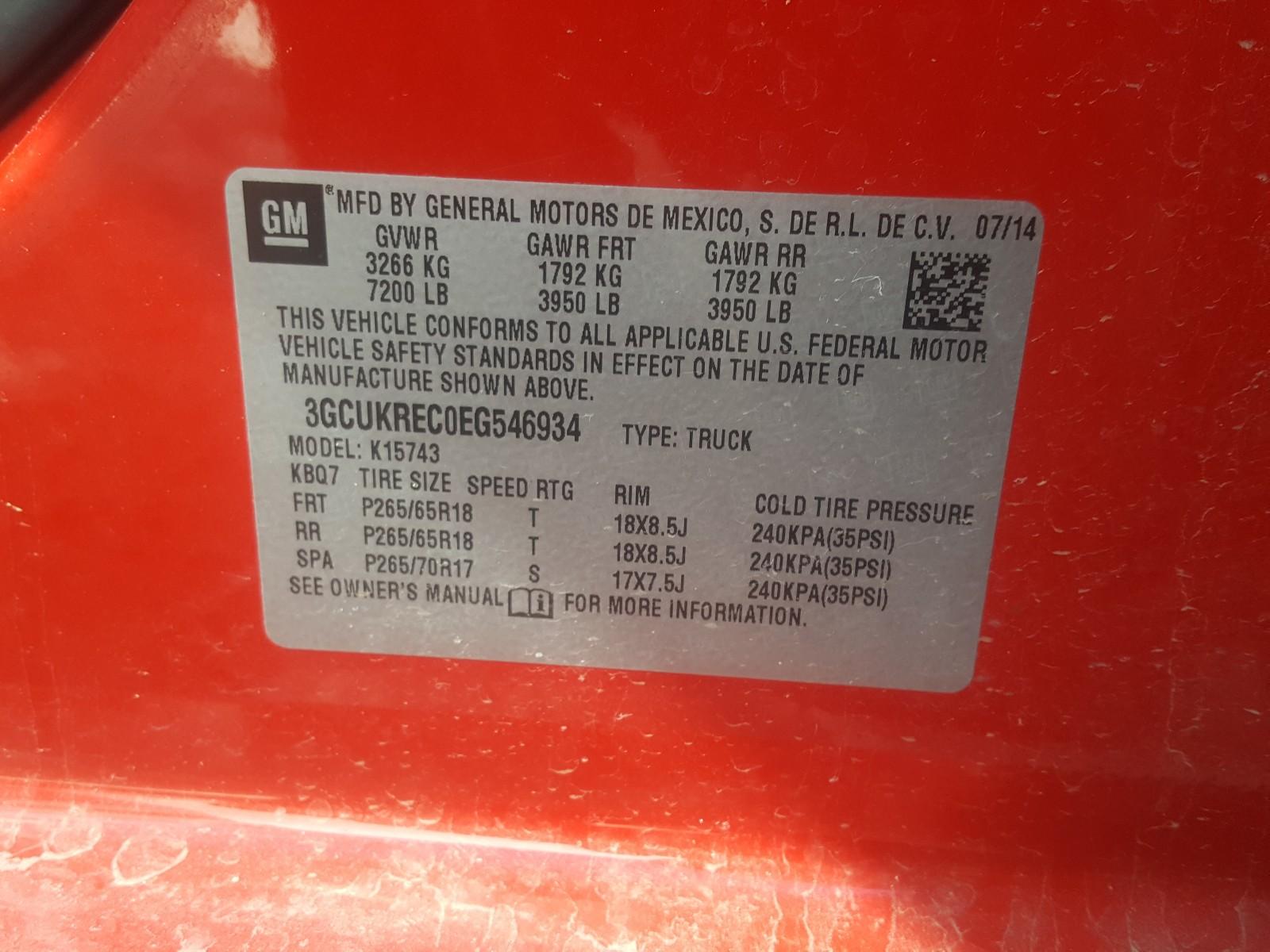 3GCUKREC0EG546934 - 2014 Chevrolet Silverado 5.3L