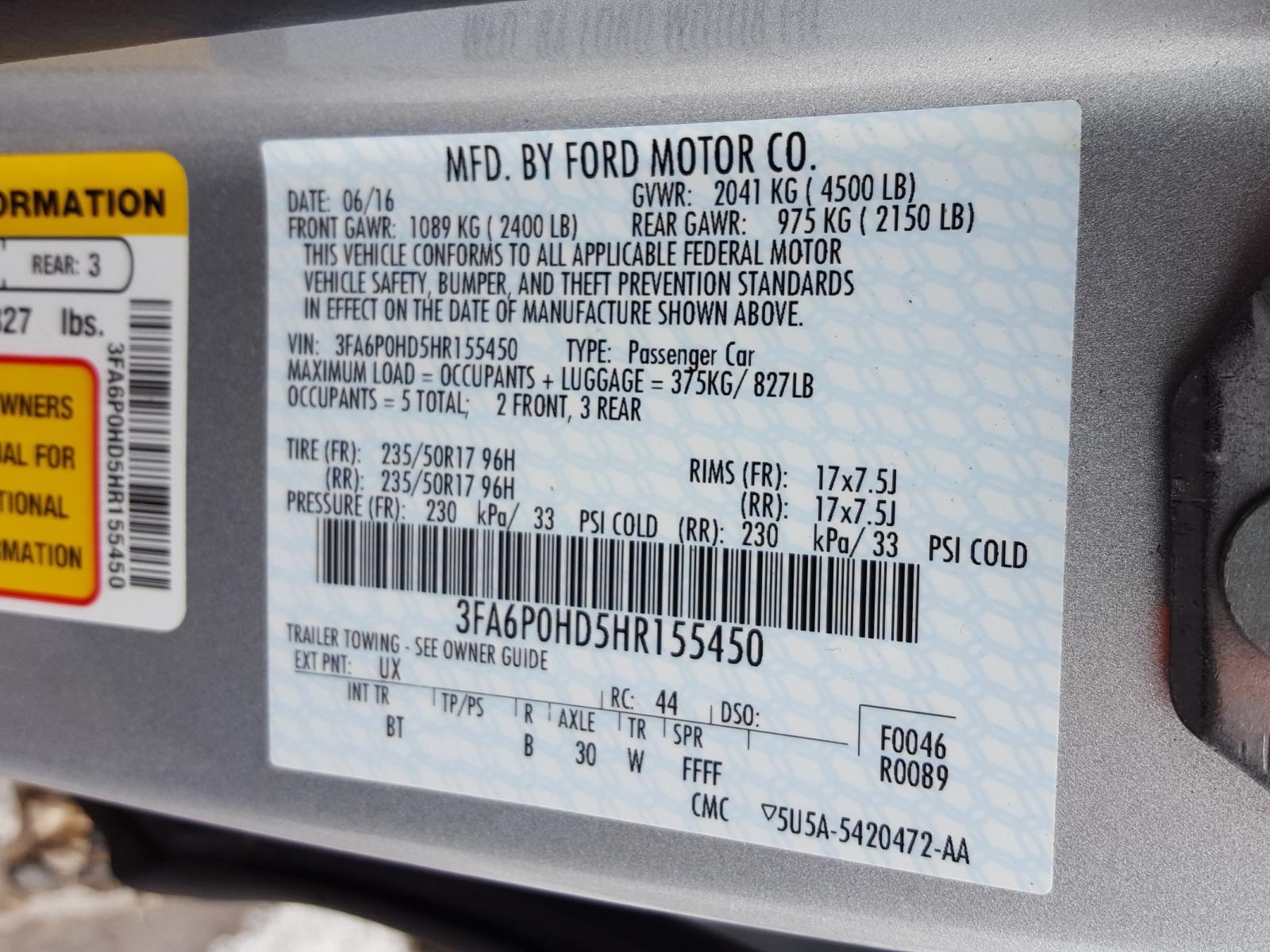 3FA6P0HD5HR155450 - 2017 Ford Fusion Se 1.5L