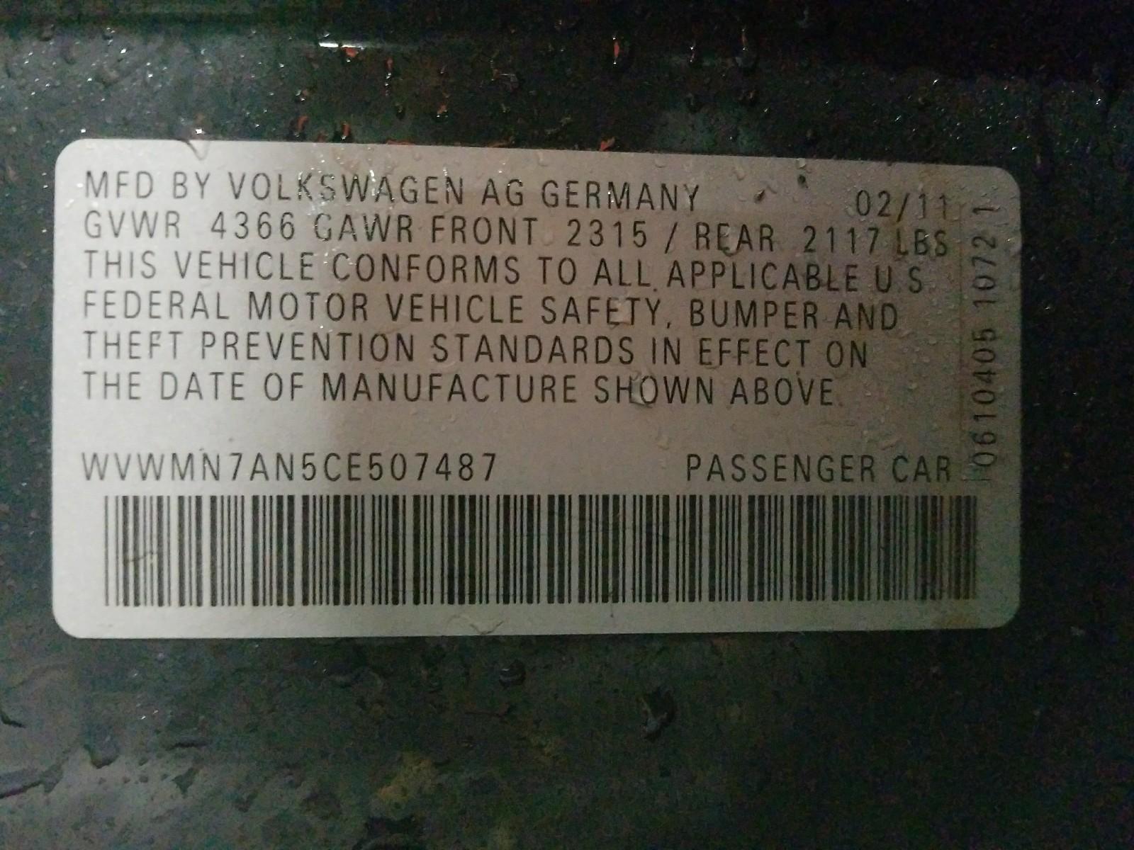 WVWMN7AN5CE507487 - 2012 Volkswagen Cc Sport 2.0L