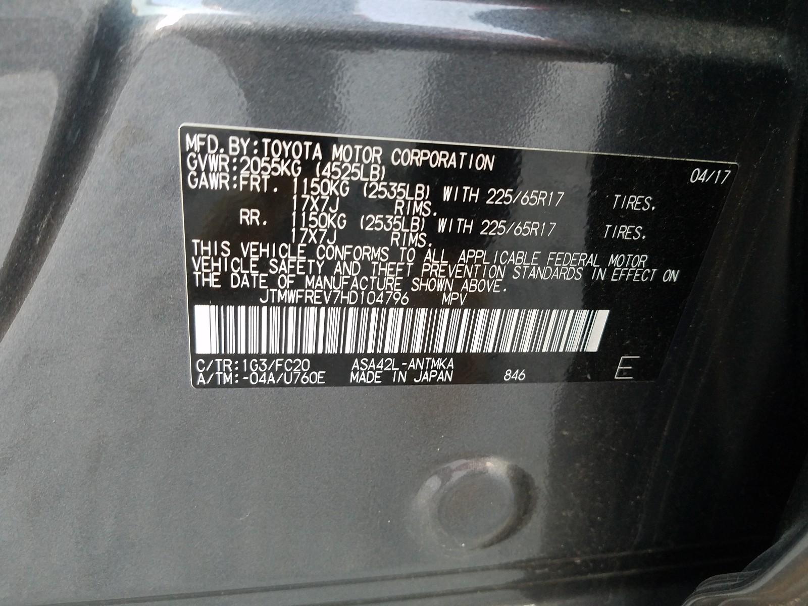 JTMWFREV7HD104796 - 2017 Toyota Rav4 Xle 2.5L