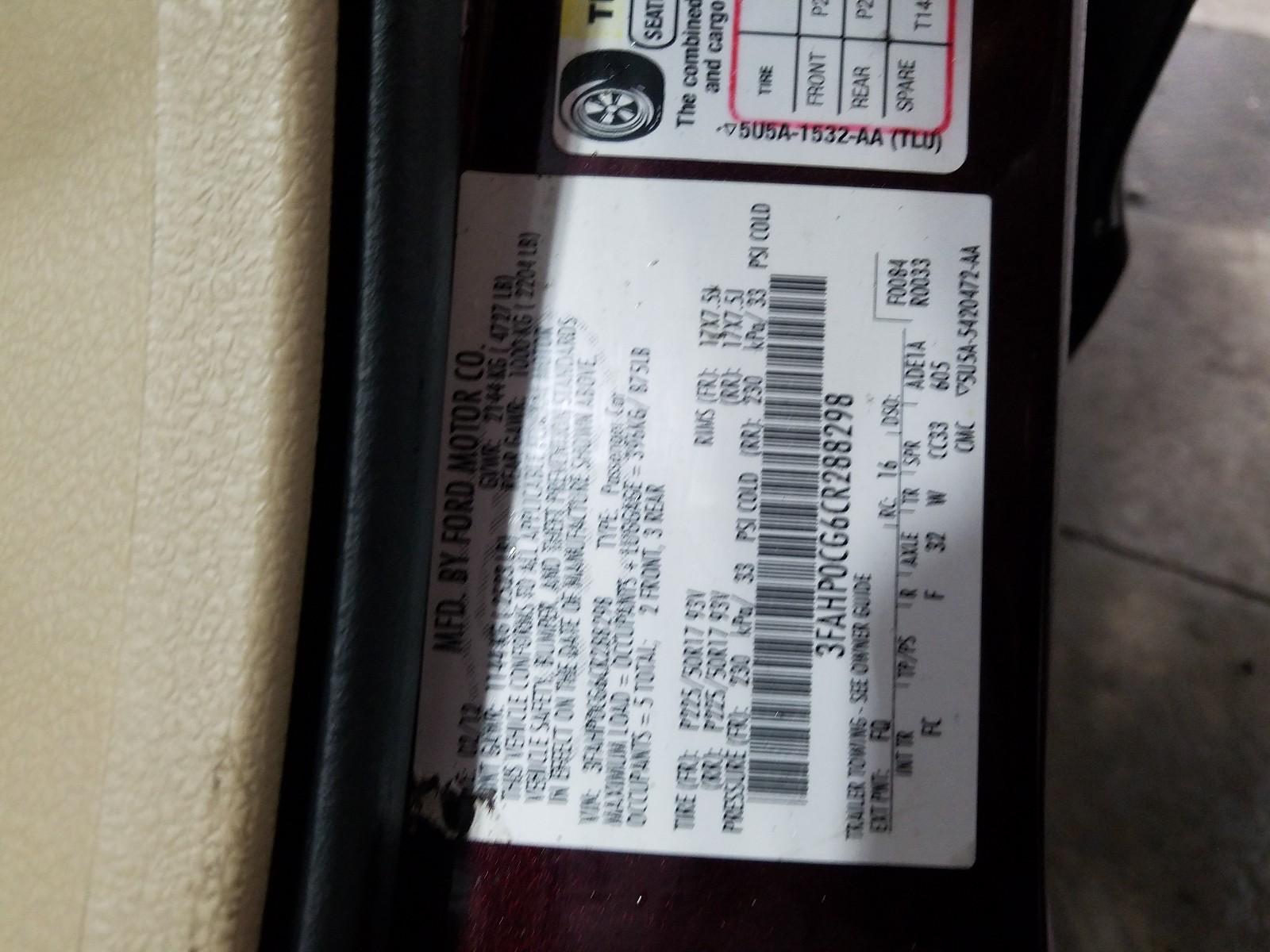 3FAHP0CG6CR288298 - 2012 Ford Fusion Sel 3.0L