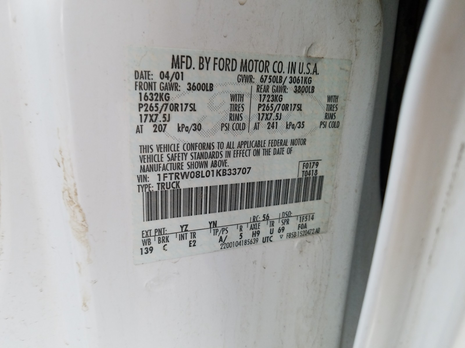 1FTRW08L01KB33707 - 2001 Ford F150 Super 5.4L