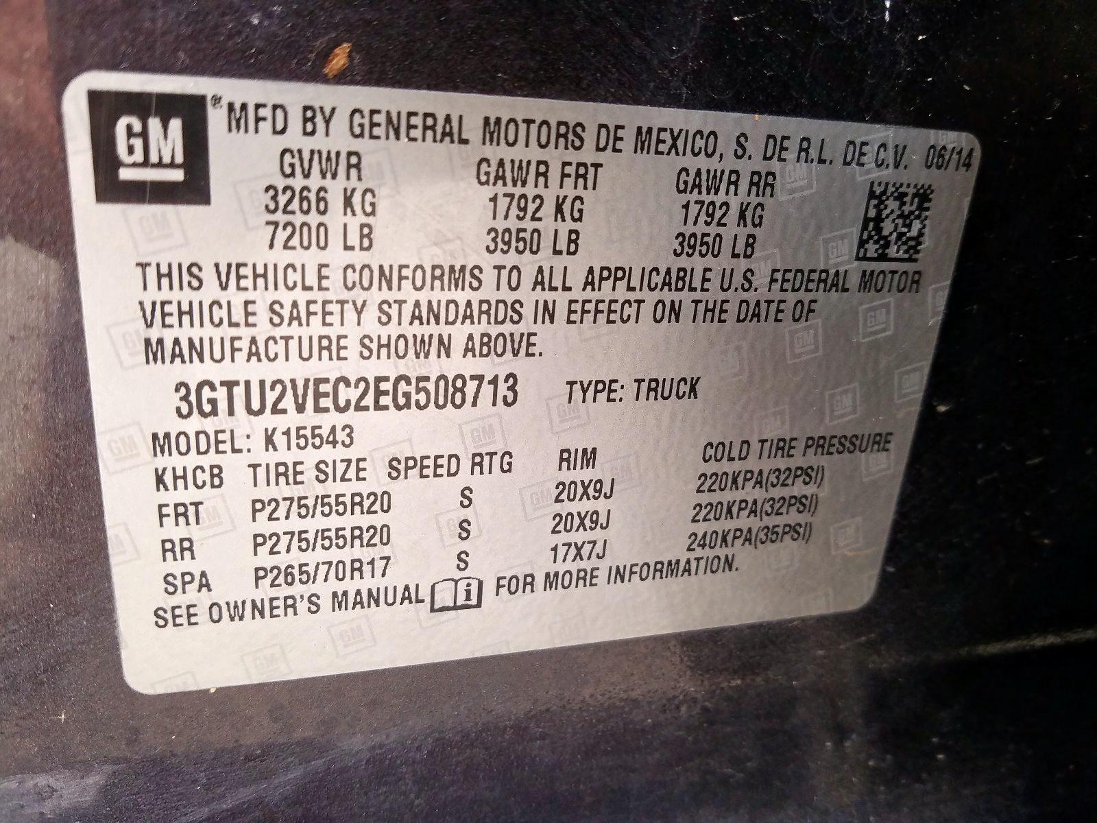 3GTU2VEC2EG508713 - 2014 Gmc Sierra K15 5.3L