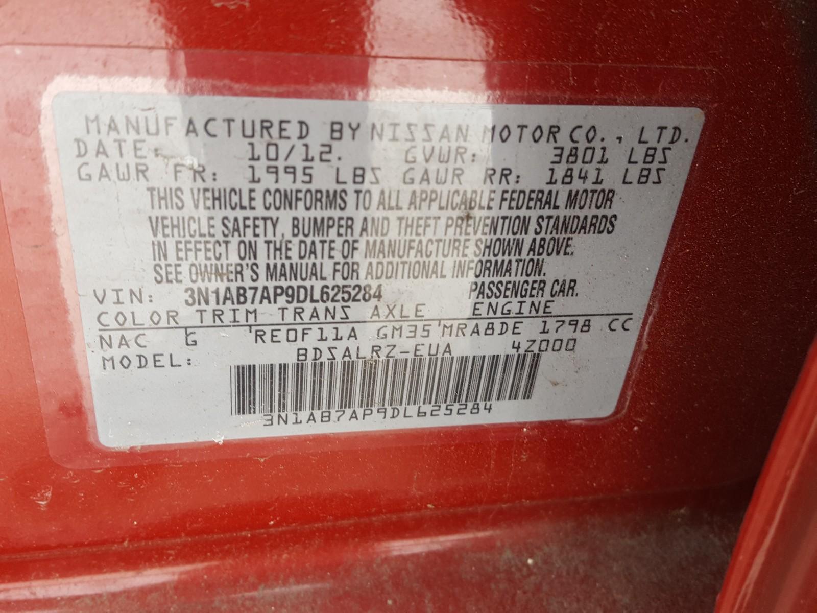 3N1AB7AP9DL625284 - 2013 Nissan Sentra S 1.8L