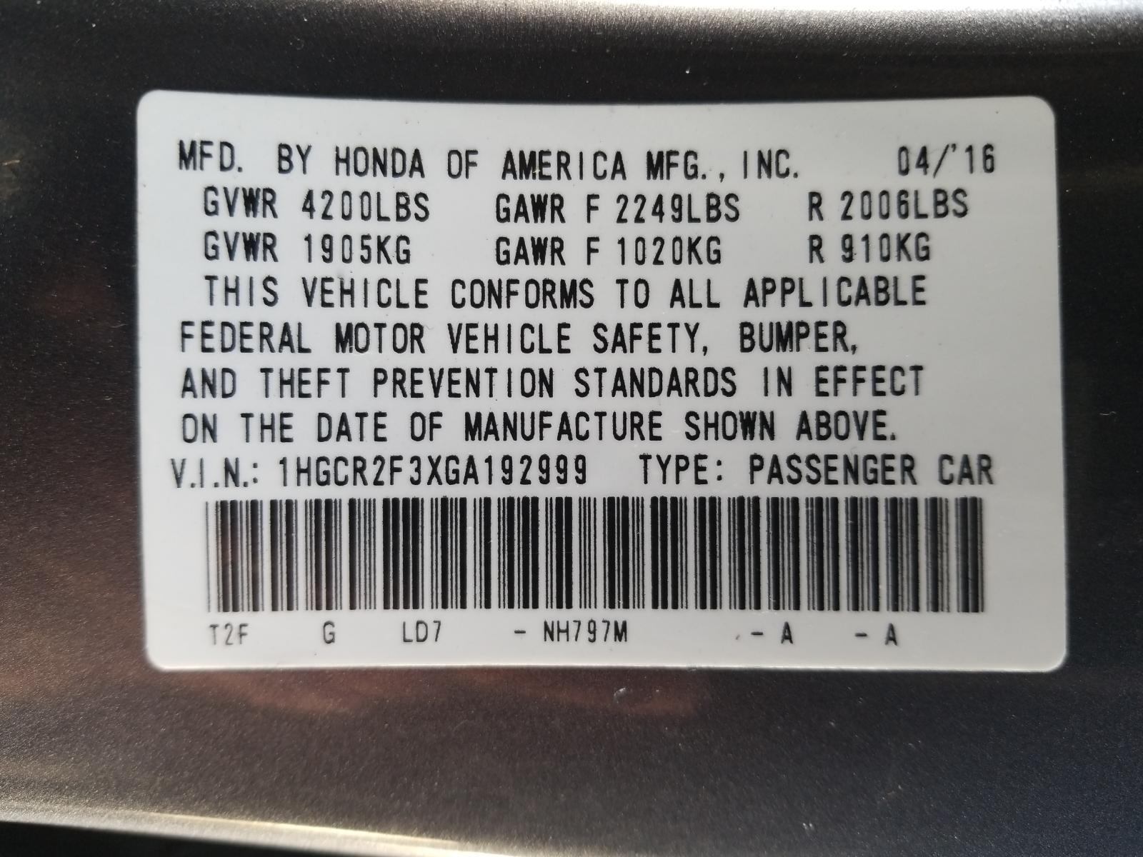 1HGCR2F3XGA192999 - 2016 Honda Accord Lx 2.4L