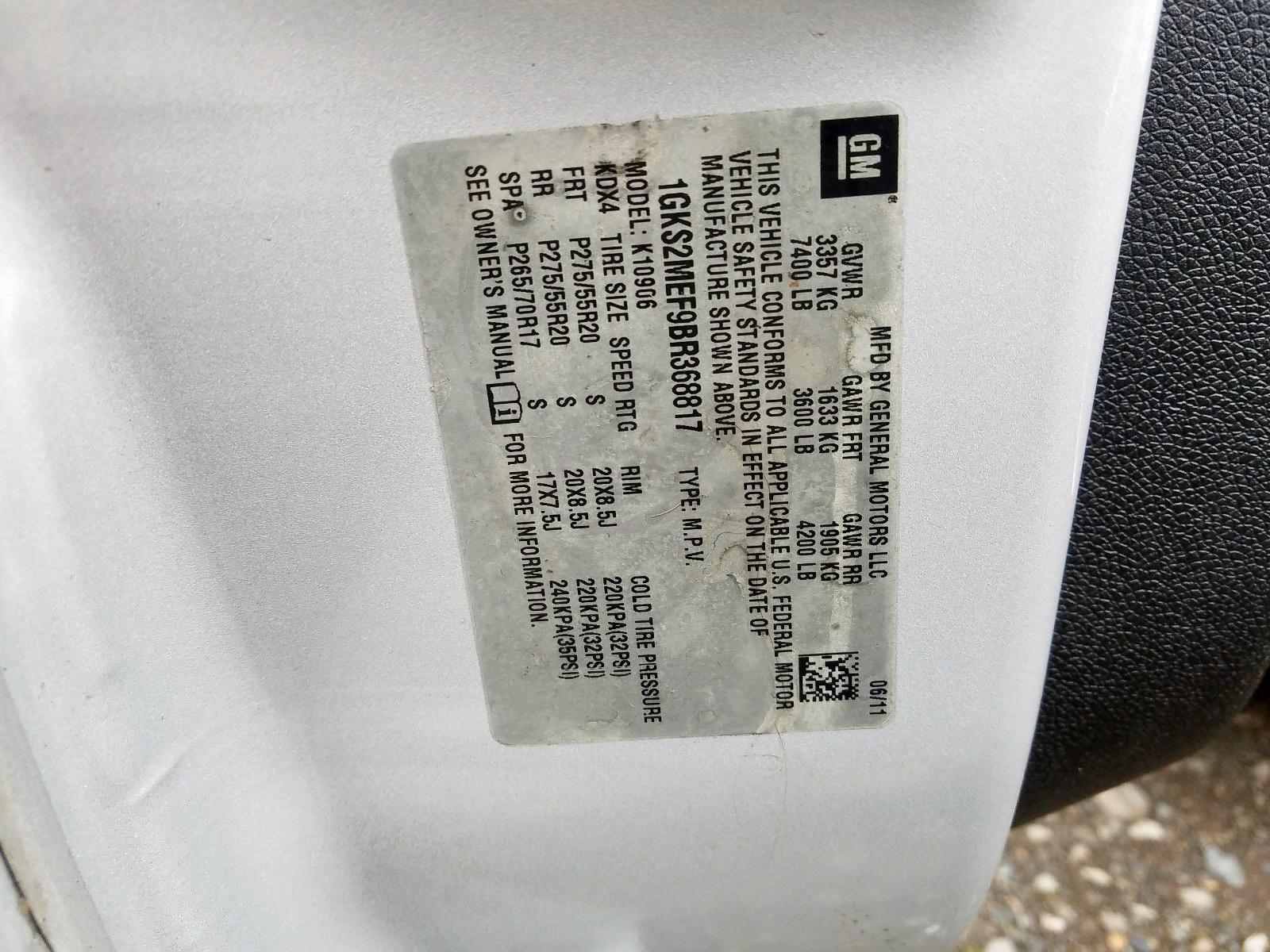 1GKS2MEF9BR368817 - 2011 Gmc Yukon Xl D 6.2L