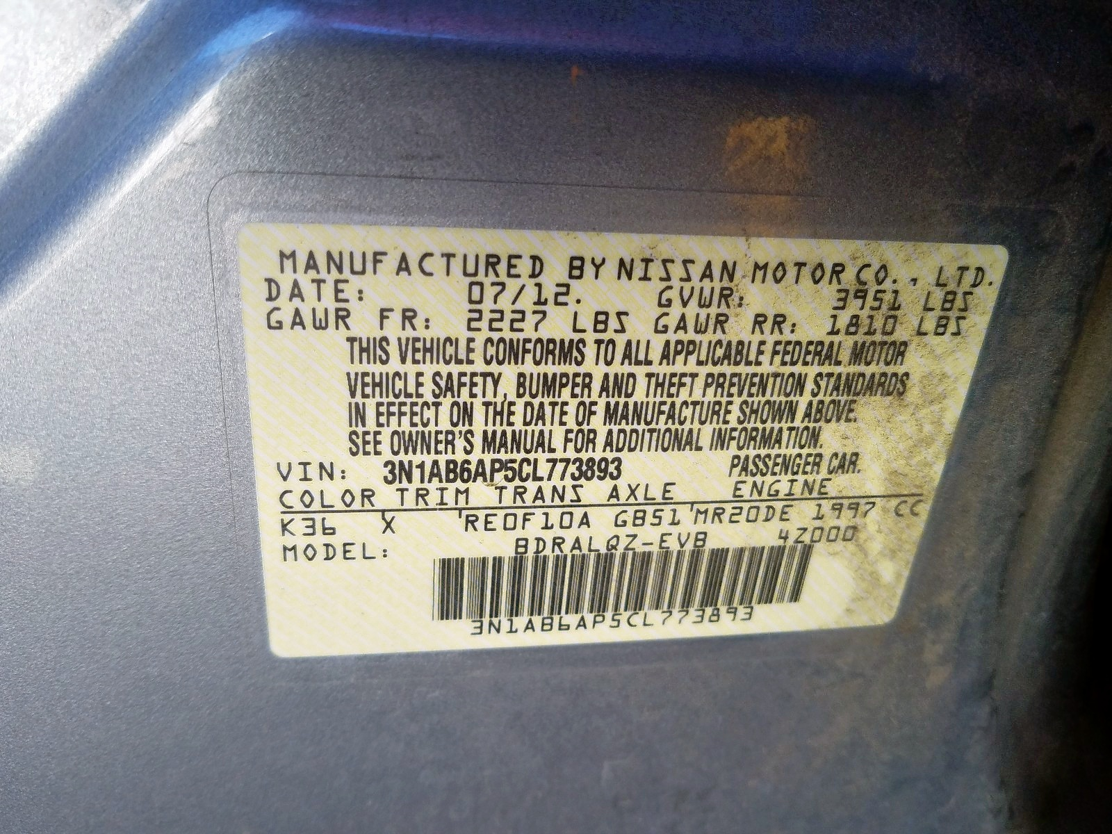 3N1AB6AP5CL773893 - 2012 Nissan Sentra 2.0 2.0L