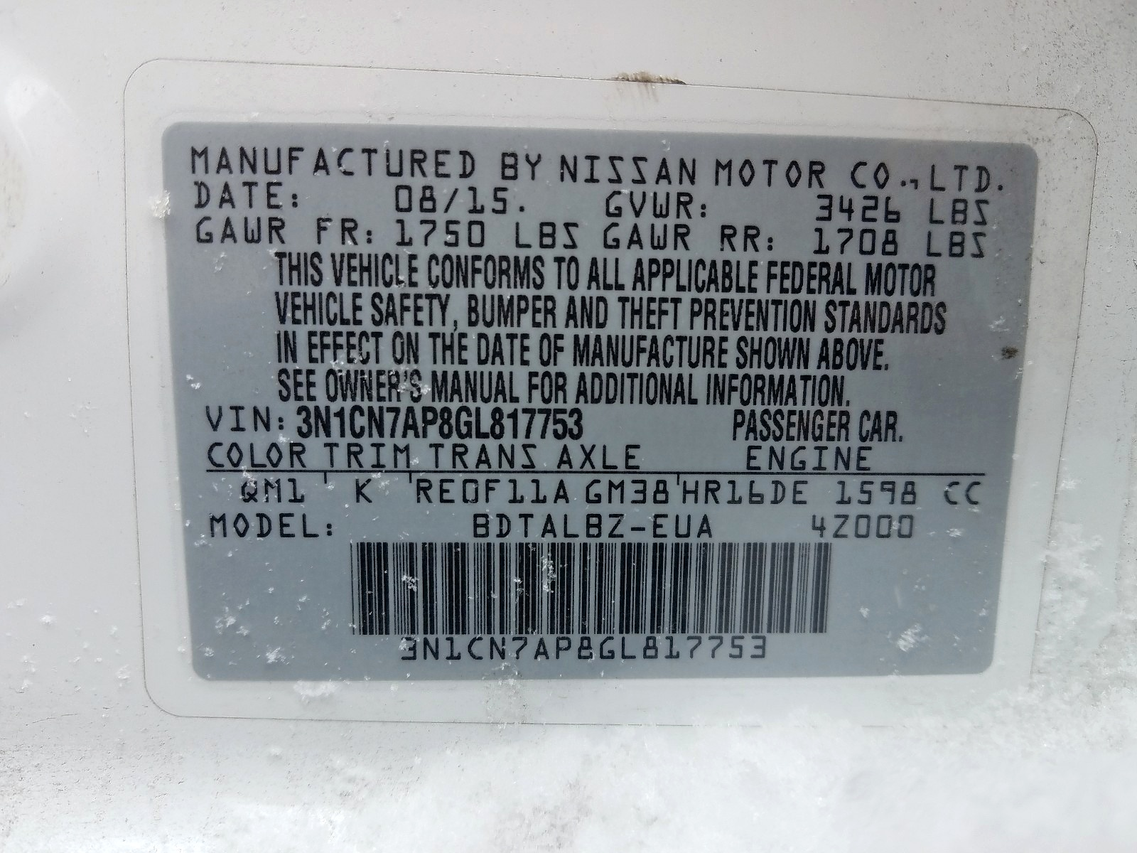 3N1CN7AP8GL817753 - 2016 Nissan Versa S 1.6L