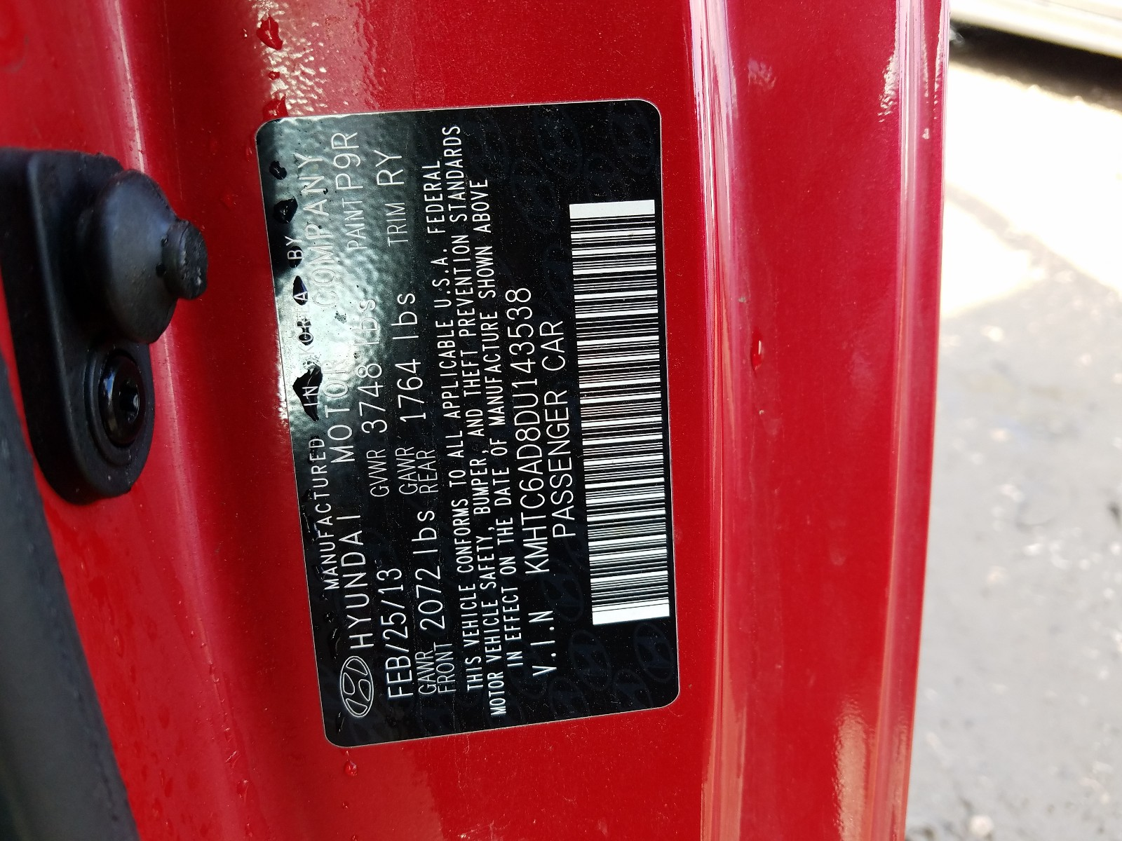 KMHTC6AD8DU143538 - 2013 Hyundai Veloster 1.6L