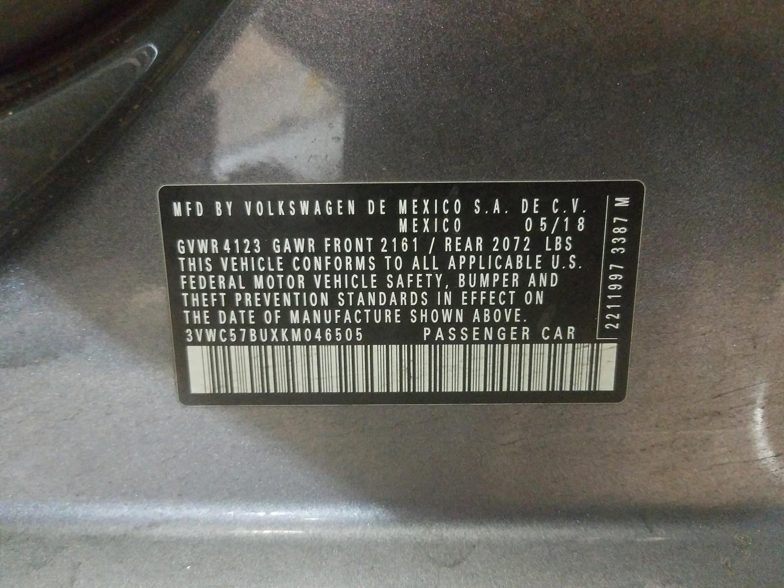 3VWC57BUXKM046505 - 2019 Volkswagen Jetta S 1.4L