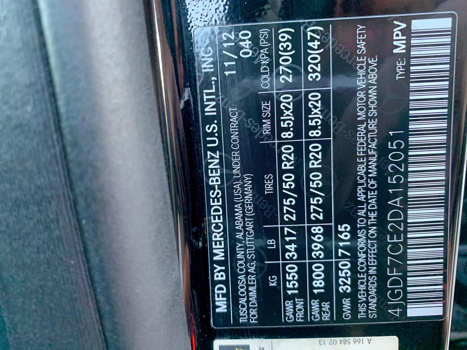 4JGDF7CE2DA152051 - 2013 Mercedes-Benz Gl 450 4Ma 4.6L
