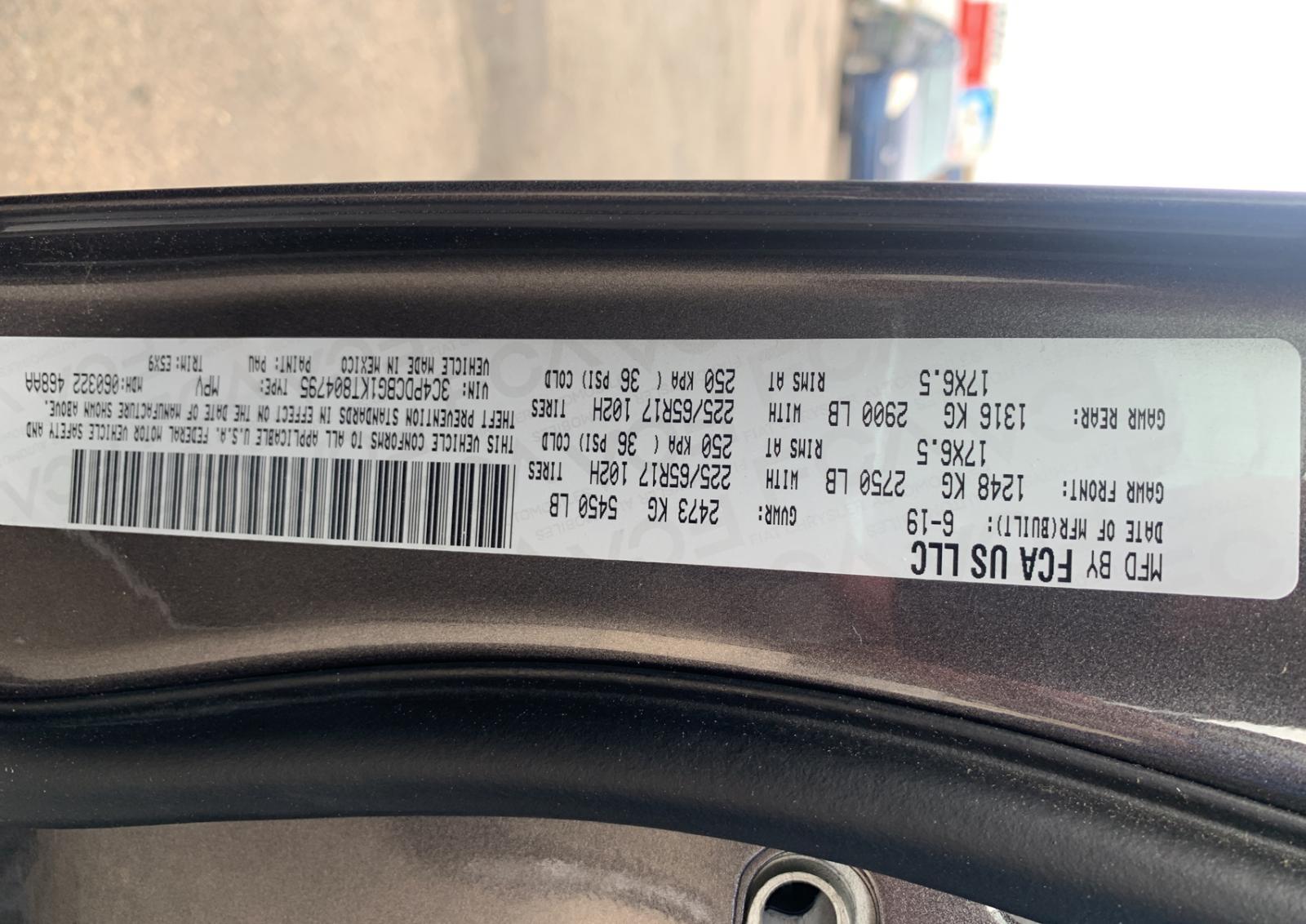 3C4PDCBG1KT804795 - 2019 Dodge Journey Se 3.6L