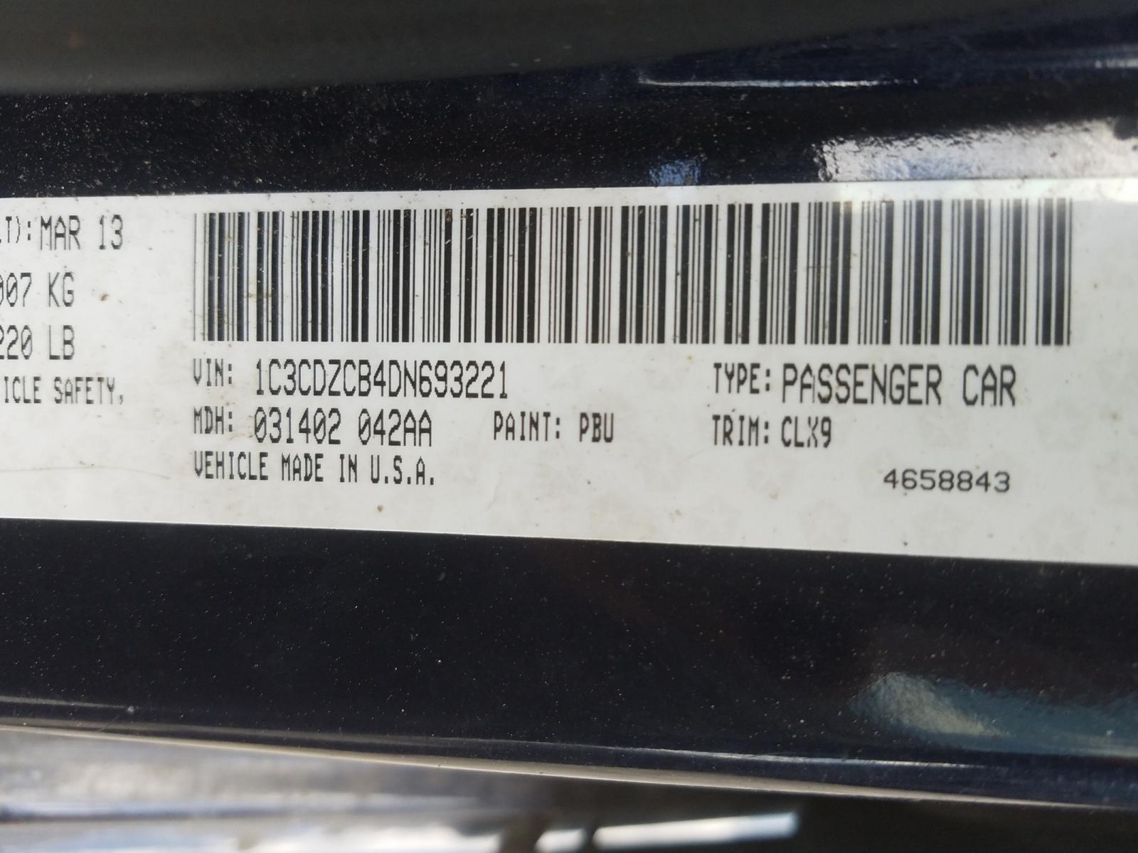 1C3CDZCB4DN693221 - 2013 Dodge Avenger Sx 2.4L