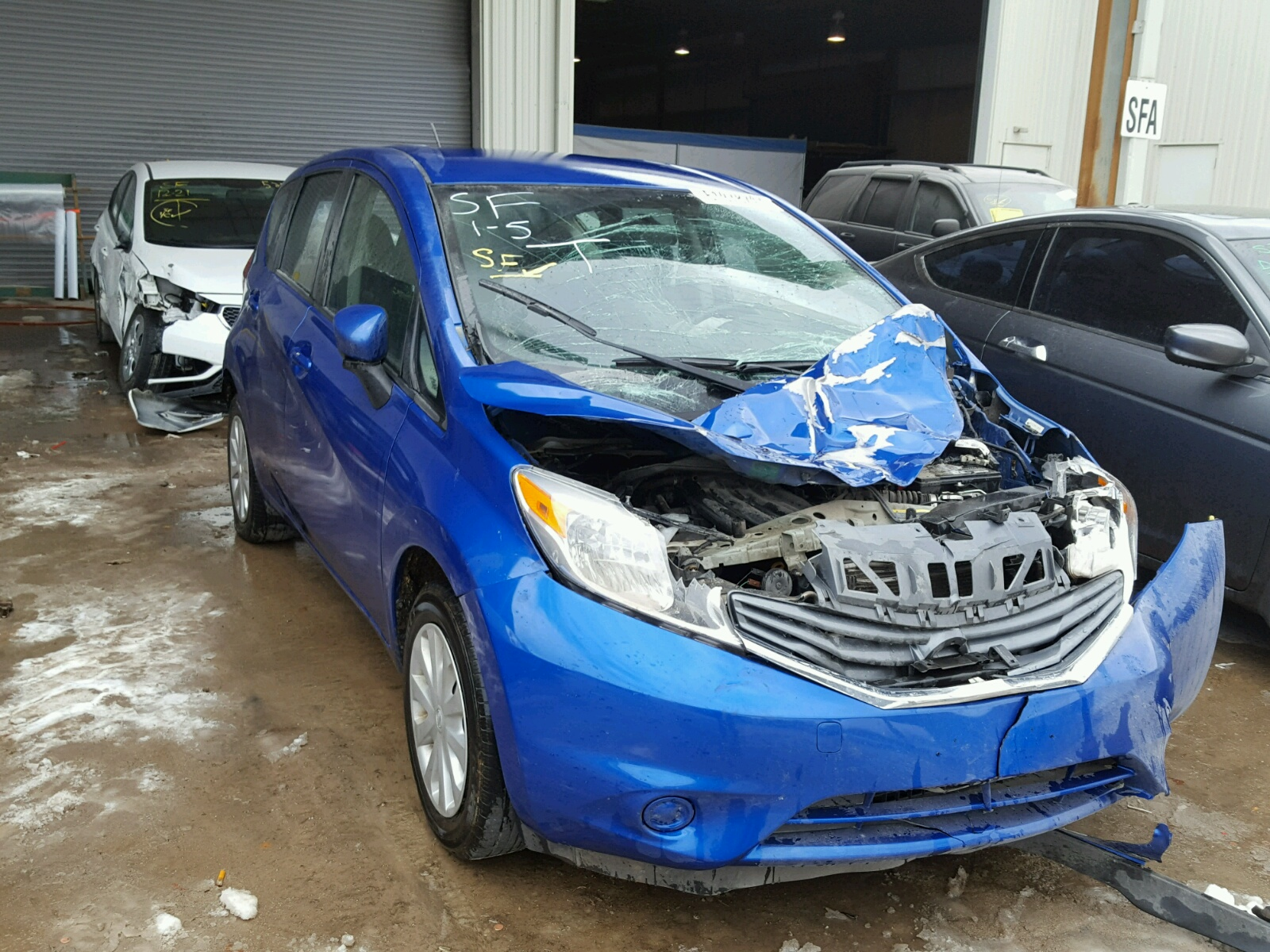 3n1cn7ap7fl924825 2015 Blue Nissan Versa S S On Sale In