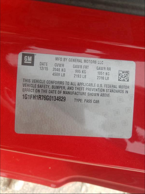 1G1FH1R76G0134829 2016 CHEVROLET CAMARO SS