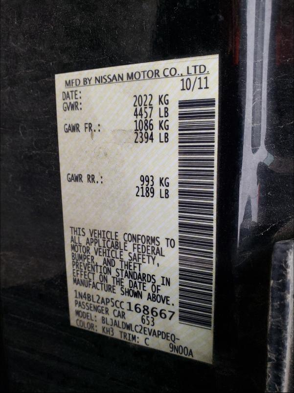 1N4BL2AP5CC168667 2012 Nissan Altima Sr 3.5L