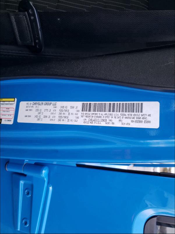 2012 JEEP WRANGLER U 1C4BJWEG1CL129639