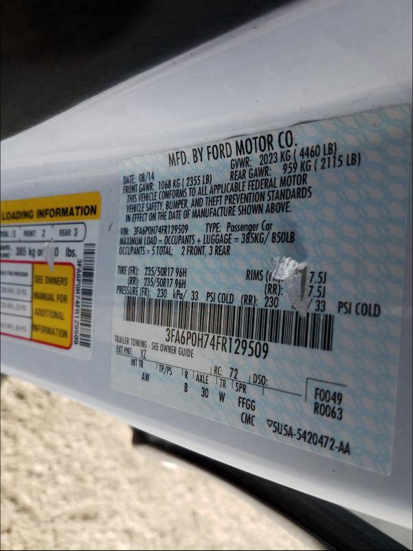 3FA6P0H74FR129509 2015 Ford Fusion Se 2.5L