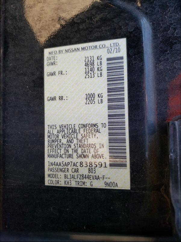 1N4AA5AP7AC838591 2010 Nissan Maxima S 3.5L