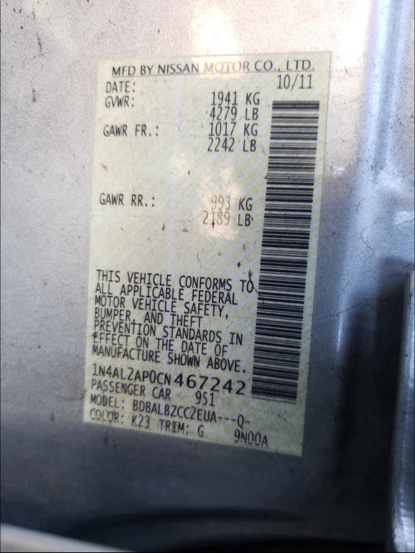 2012 Nissan ALTIMA   Vin: 1N4AL2AP0CN467242