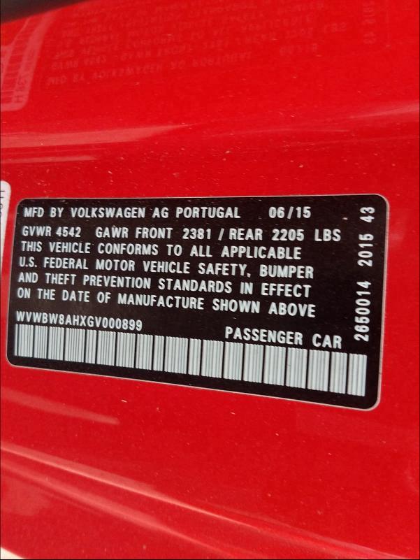 WVWBW8AHXGV000899 2016 Volkswagen Eos Komfor 2  L