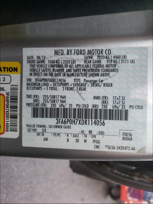 2013 FORD FUSION SE 3FA6P0H7XDR114056