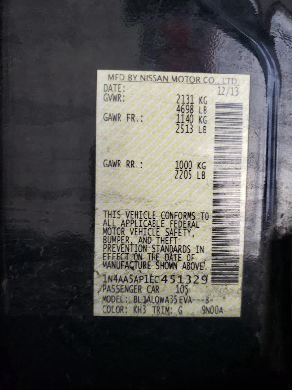 2014 NISSAN MAXIMA S 1N4AA5AP1EC451329