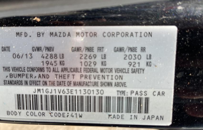 JM1GJ1V63E1130130 2014 Mazda 6 Touring 2.5L