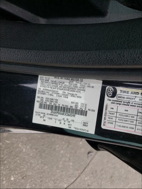 2012 FORD FUSION SE 3FAHP0HA8CR360249
