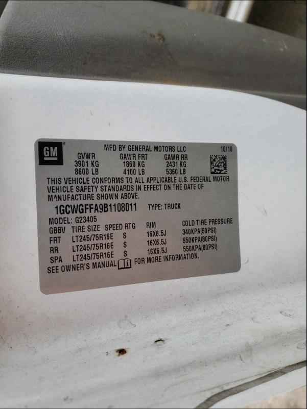2011 CHEVROLET EXPRESS G2 1GCWGFFA9B1108011