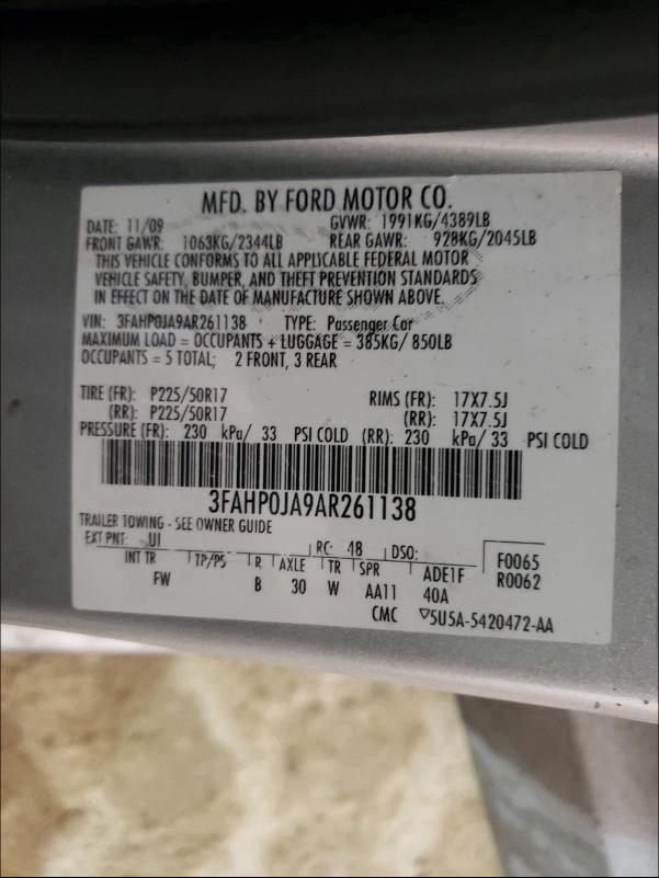 2010 Ford FUSION | Vin: 3FAHP0JA9AR261138