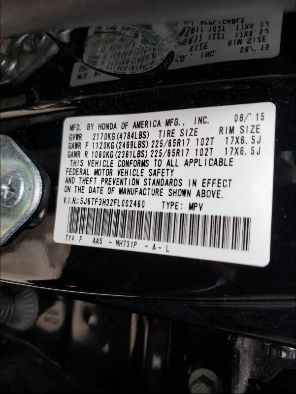 2015 HONDA CROSSTOUR 5J6TF3H32FL002460