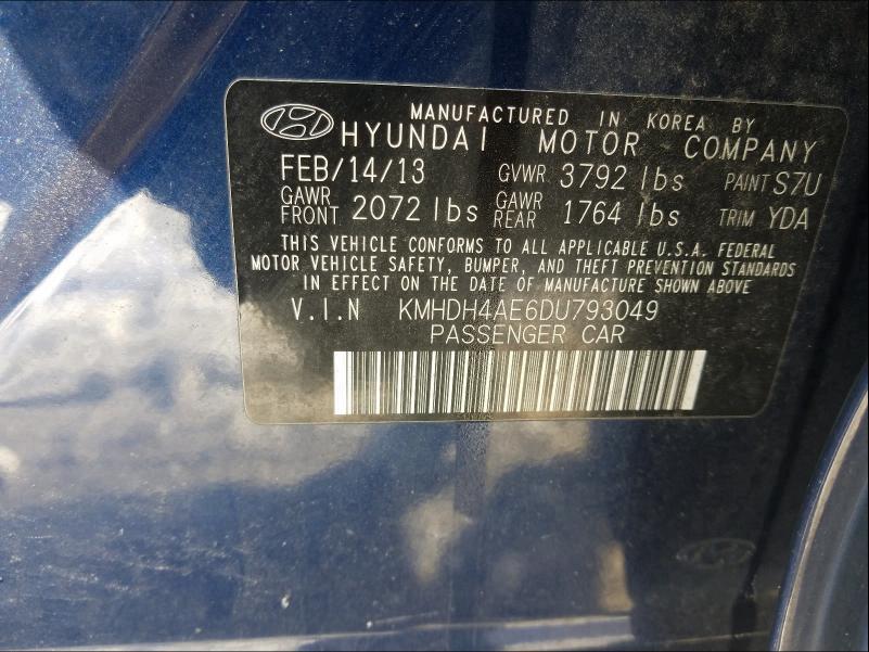 2013 HYUNDAI ELANTRA GL KMHDH4AE6DU793049