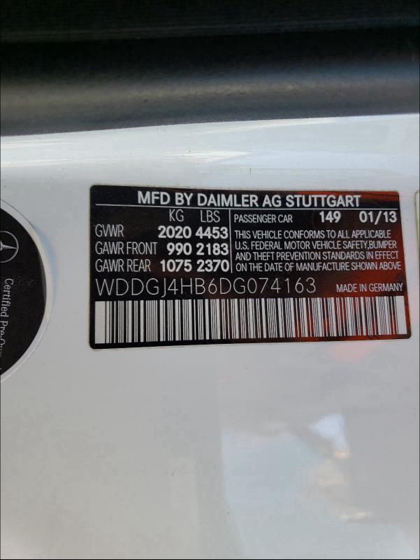2013 MERCEDES-BENZ C 250 WDDGJ4HB6DG074163
