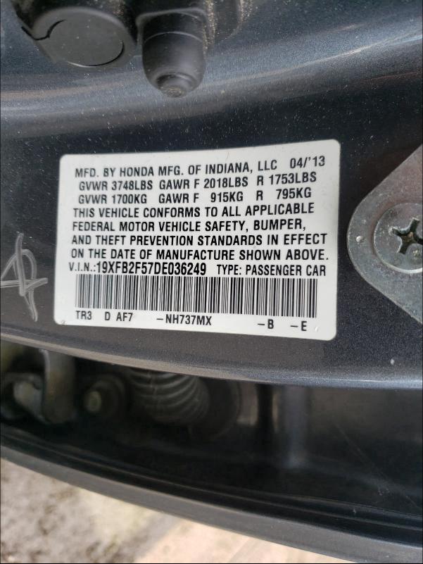 2013 HONDA CIVIC LX 19XFB2F57DE036249