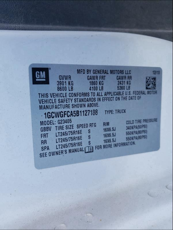 2011 CHEVROLET EXPRESS G2 1GCWGFCA5B1127188