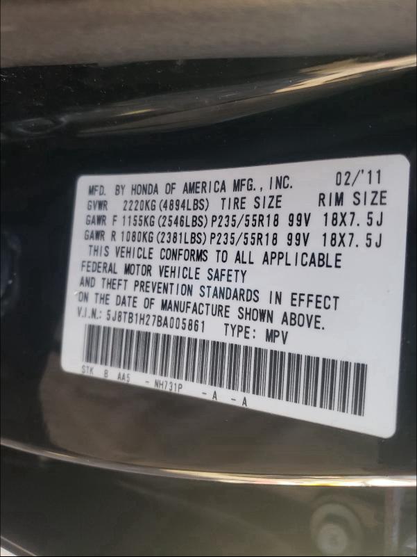 2011 ACURA RDX 5J8TB1H27BA005861