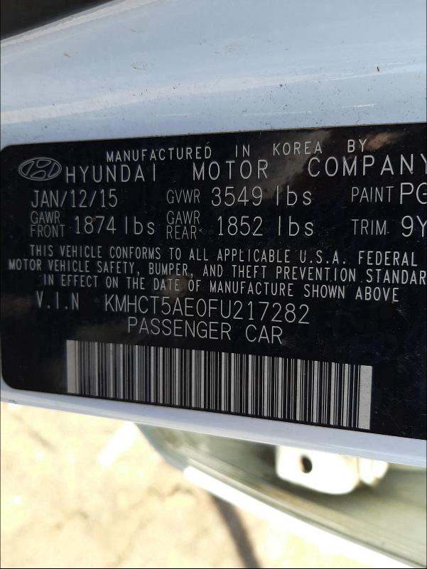 2015 HYUNDAI ACCENT GS KMHCT5AE0FU217282