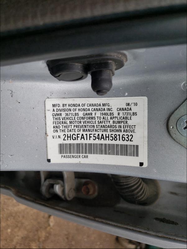 2010 HONDA CIVIC LX 2HGFA1F54AH581632