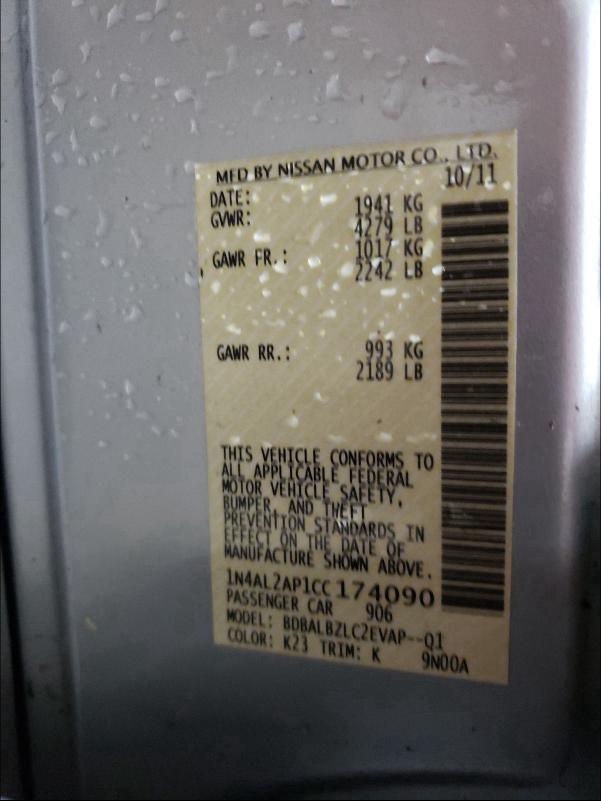 2012 NISSAN ALTIMA BAS 1N4AL2AP1CC174090