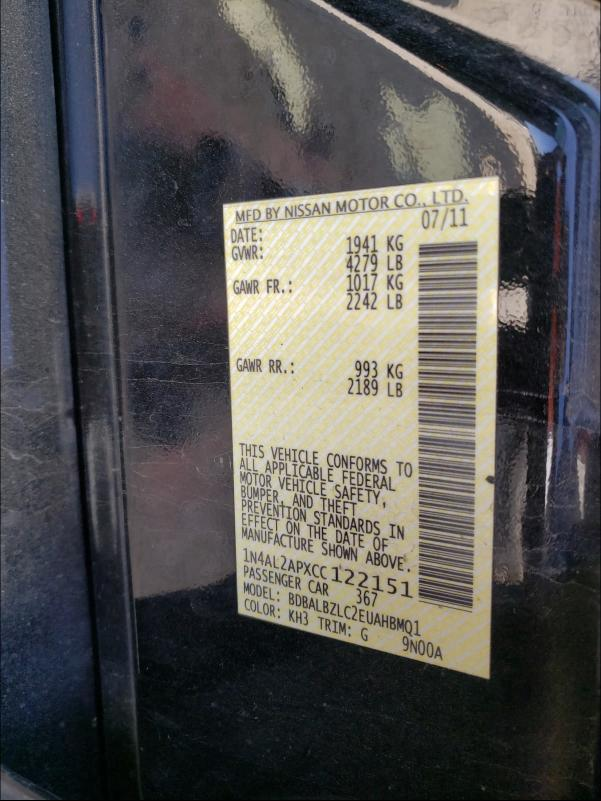 2012 NISSAN ALTIMA BAS 1N4AL2APXCC122151