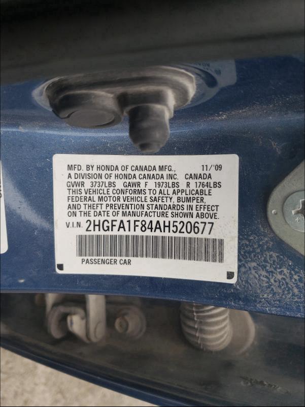 2010 HONDA CIVIC EX 2HGFA1F84AH520677