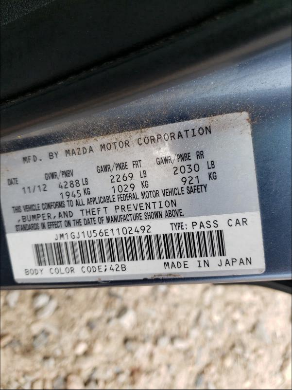 2014 MAZDA 6 SPORT JM1GJ1U56E1102492