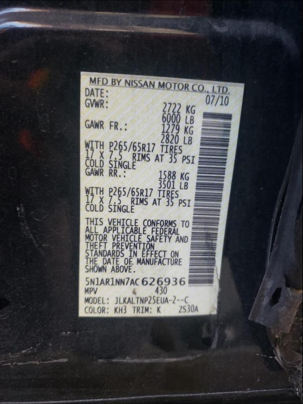 2010 Nissan PATHFINDER   Vin: 5N1AR1NN7AC626936
