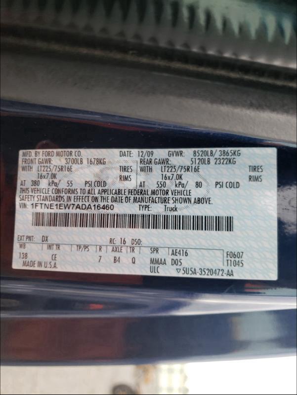 2010 Ford ECONOLINE | Vin: 1FTNE1EW7ADA16460