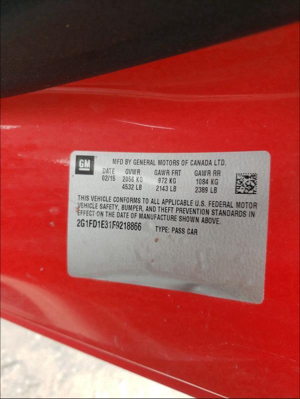 2015 CHEVROLET CAMARO LT 2G1FD1E31F9218866