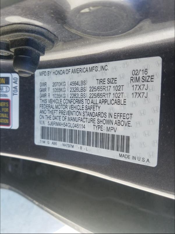 2016 HONDA CR-V EX 5J6RM4H54GL046114