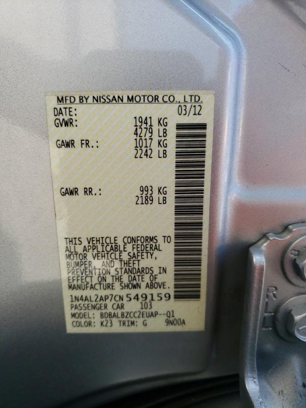 2012 NISSAN ALTIMA BAS 1N4AL2AP7CN549159