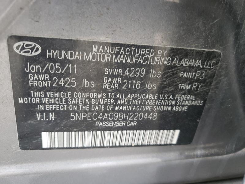 2011 HYUNDAI SONATA SE 5NPEC4AC9BH220448