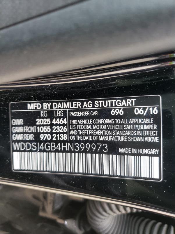 2017 MERCEDES-BENZ CLA 250 4M WDDSJ4GB4HN399973